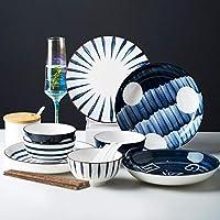 コンビネーションセット日本食器セット家庭料理セットセラミックボウルクリエイティブ食器釉下皿と箸セット-混合色16