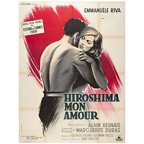KONGQTE Hiroshima, My LoveHiroshima Mon Amour (1959) Poster del Film Stampa su Tela Pittura Wall Art for Living Room Decor-50x70cm No Frame