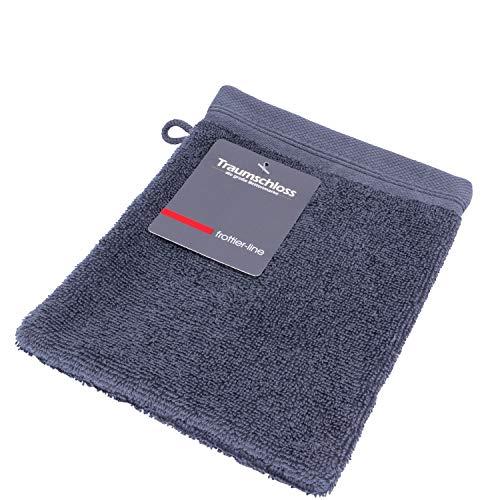 Traumschloss Frottier-Line hautsympathischer Waschhandschuh | 16 x 21 cm | dunkelgrau | 100% weiche Baumwolle mit 500g/m² | flauschig weich & angenehm zur Haut
