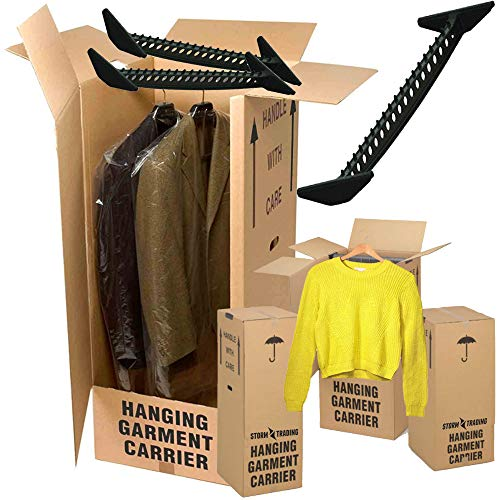 3 x Wardrobe Garment Box Strong Double Wall Removal/Moving Storage Cardboard Boxes
