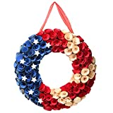 National Tree Company 16' Patriotic Wood Curls Wreath, Red, White, Blue