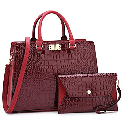 Dasein Women Handbags Satchel Purses Shoulder Bag Top Handle Work Tote for Lady with Matching Wristlet 2pcs Set (Croco wine)