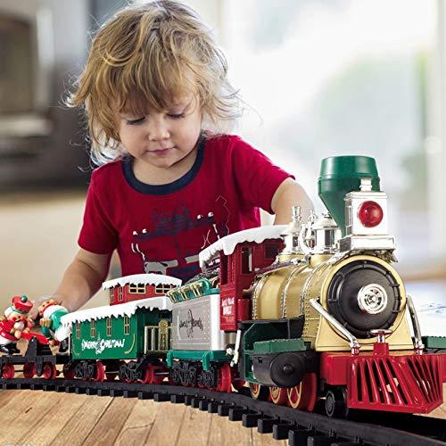 Gmsqj Weihnachtszug-Set - Elektrisches Zugspielzeug Mit Licht Und Ton, Für Unter Dem Baum, Dampflokomotiven-Eisenbahnschienen-Kits, Jungen Und Mädchen