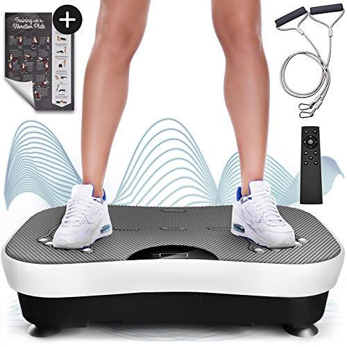 Sportstech VP210 Pedana vibrante con telecomando Bluetooth, telecomando e bande di allenamento