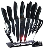 KNIFAST Knife Set Stainless Steel 18 Pieces with Block Dishwasher Safe, Kitchen Knives Set Chef Knife Set with Knife Sharpener, 6 Steak Knives with Peeler Scissors Cheese Pizza Knife and Acrylic Stand