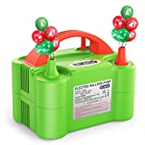 Dr.meter Bomba Eléctrica Inflar Globos, Bomba portátil de Doble Boquilla Ideal para Fiestas, Bodas, cumpleaños, Actividades promocionales y decoración de Fiestas (Verde y Naranja (Verde + Naranja)