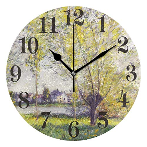 Reloj Colgante Redondo Claude Monet Oak Forest 9,84 Pulgadas Reloj de Pared Vintage para Sala de Estar Cocina Dormitorio Oficina