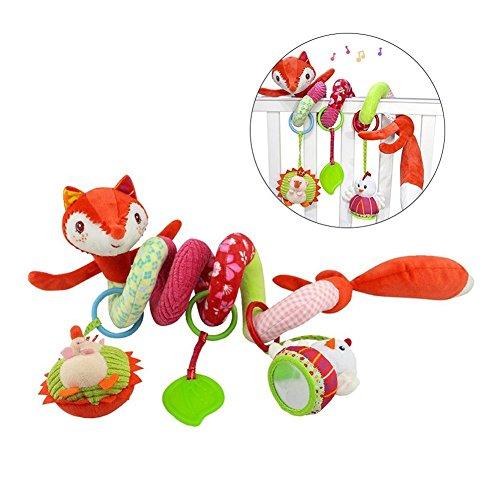 Freeas Spirale Bett Kinderwagen Spielzeug, Kleinkind Baby Aktivität pädagogische Plüschtier Bett hängen Spielzeug (Fuchs)