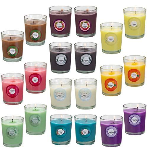 Howemon Scented Candles, Anxiety Reducer,Lavender, Lemon, Spring,Strawberry, Rosemary, Jasmine, Rose, Vanilla, Bergamot, fig, Aromatherapy Organic Massage Candles - 20 Pack