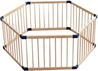 6 Pieces Baby Furniture Game Foldable Fence,80cm Long Children's Natural Wooden Grid Crawling Walking Protective Fence