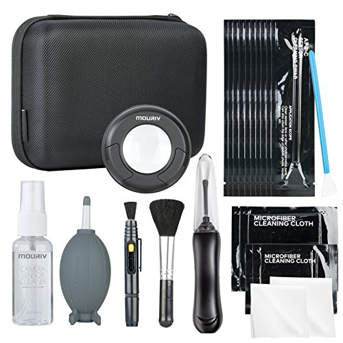 Mouriv Deluxe Essentials DSLR Camera Cleaning Kit with 10 APS-C Sensor Cleaning Fluid, Rocket Air Blower, Lens Pen, Soft Brush, 2x Small & 2x Large Microfiber Cloths & Carrying Case