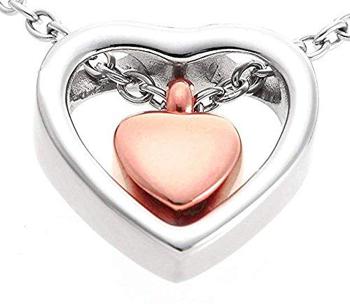 Mis U Jewelry 12.Cremación Memorial joyería de Acero Inoxidable Oro Rosa en Forma de corazón de la urna Colgante Collar para Hombres y Mujeres