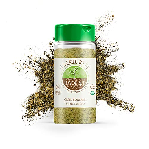 It's Greek To Me Organic Greek Seasoning, Gluten-Free Greek Spices for Lamb Chops and Kabob Steak, No Additives and Preservatives, 2oz Glass Jar - Flavor Seed