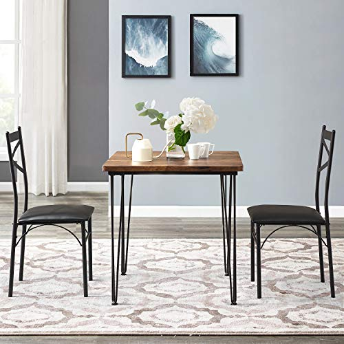 VECELO 3-Piece Dining Table Set 2 Chairs with Metal Legs for Kitchen, Dinette, Breakfast Nook, Retro Brown and Black