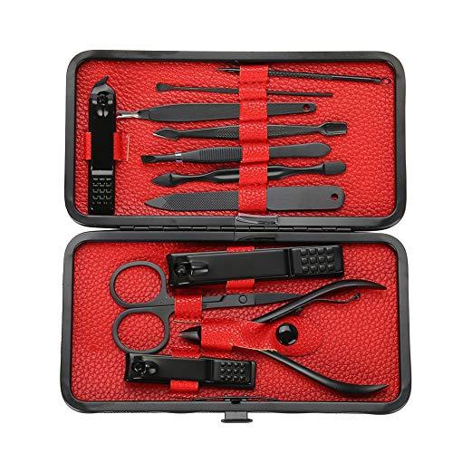 Ciseaux à ongles noir, Cuticle Trimmer Professional Nipper Nails Clippers Visage Manucure Pédicure Outils 12 pcs