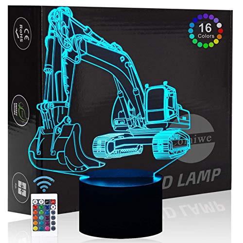 Comiwe Bagger 3D Illusion Nachtlicht Spielzeug,Dekoration LED Nachttischlampe 16 Farben Ändern mit Fernbedienung,Weihnachten Deko Lampe Geburtstagsgeschenk Für Mädchen Jungen Kinder und Freunde