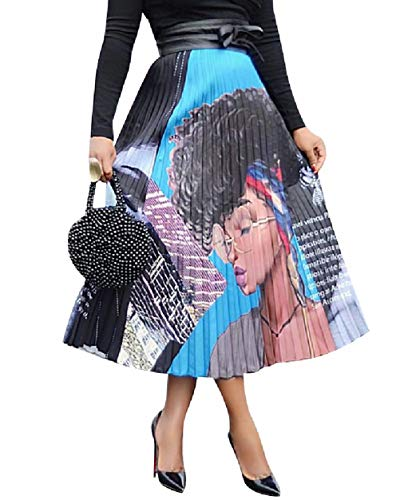 ThusFar Women's Graffiti Pleated Skirts Cartoon Printed Elastic Waist A-Line Swing Midi Skirt Lady XXL