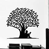 BailongXiao Vinylwandaufkleberlesebuch-Wandaufkleberbaum mit Wurzel verlässt Naturaufkleberkunst mula Schlafzimmer-Klassenzimmerdekoration