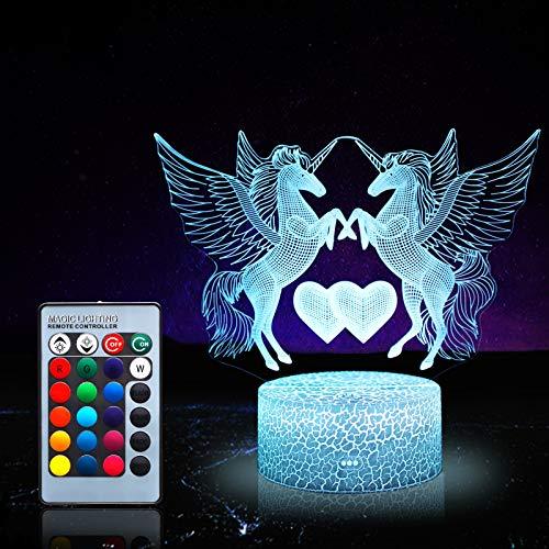 Einhorn Nachtlicht für Kinder, Einhorn Spielzeug für Mädchen, 16 Farben wechselnde Nachtlampe mit Fernbedienung 0061