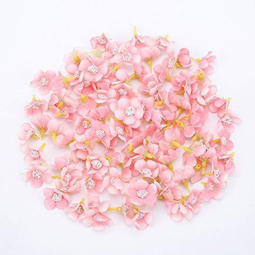 50pcs 2cm Daisy Flower Head Mini Silk Artificial Flowers For Home Wedding Decoration DIY Garland Headdress Fake Flowers Decor - Pink 2