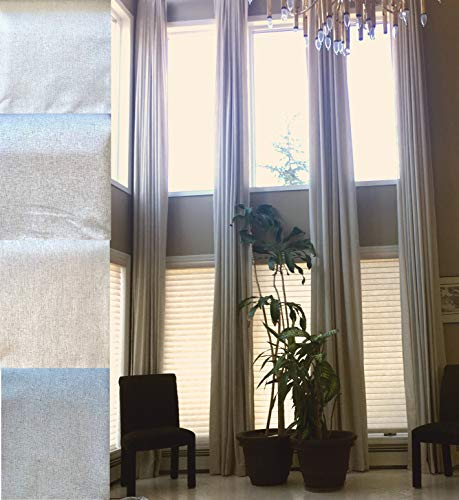 """100 % Blackout Extra Long Linen Curtains. Off White, Beige Cream Gray Custom Made 12-24 feet Length 2 Story Great Room (Stone White, 216"""" Lx50 W)"""