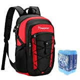 Piscifun Insulated Cooler Backpack with 6 Cool Coolers Leakproof Black & Red