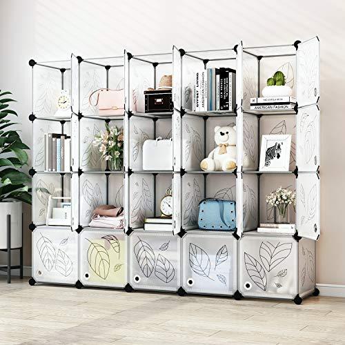 Greenstell Cube Storage Organizer, Plastic Closet Organizer with Doors, 20-Cube DIY Storage Cubes Organizer, Modular Storage Cabinet Book Shelf Shelving for Bedroom, Living Room, Office White