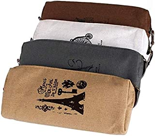 Retro Towers Linen Pencil Bag Students Paris Style Pencil Case Classical Stationery Material Escolar Office Supplies Large Capacity Creative Pencil case (Color : Coffee)