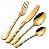 Buyer Star Cubiertos oro inox, Vajilla de mesa para 4, Juegos de Cubiertos de oro 16 piezas, Cubiertos de acero inoxidable, Set de cuchillos y tenedores