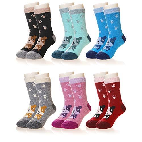 Eocom 6 Pairs Children's Winter Warm Wool Animal Crew Socks Kids Boys Girls Socks(Dog, 8-12 Years)