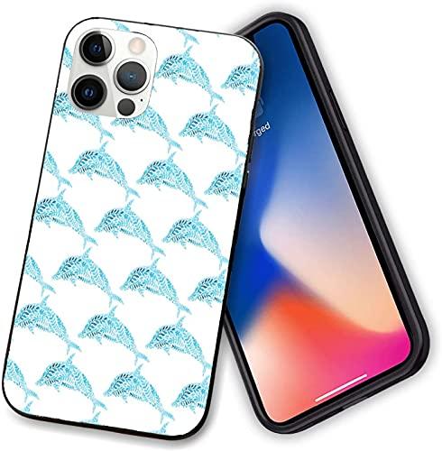 Funda compatible con iPhone 12 Series, figuras de delfín Aqua con hojas ornamentales de peces juguetones, a prueba de golpes suave TPU para iPhone 12-6.1 pulgadas