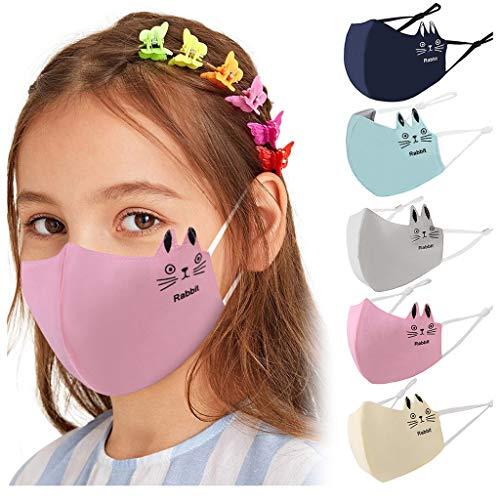 5 Stück Baumwolle Mundschutz Kinder Cartoon Druck Verstellbarer Hängendes Ohr StaubschutZ, Atmungsaktive Waschbar Half Face Halstuch für Jungen und Mädchen (D)