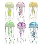 YMZ-6 accesorios de acuario con efecto de brillo caliente para plantas acuáticas, decoración de medusas de silicona bajo el agua para decoración de mascotas
