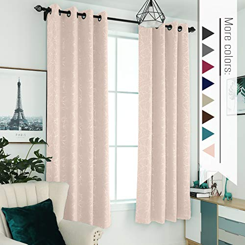 """Sophia & William 52"""" W x 84"""" L Blackout Curtains with Grommets Thermal Insulated, Hot Stamping (Silver) Stitched Swirl Pattern - 2 Panels, Soft Pink"""