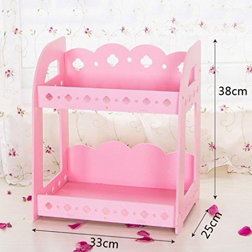 Étagère de salle de bain Toilette Table de lavage Bureau de rangement Cosmétique boîte de rangement Simple Combinaison Double étagère (couleur : Rose)