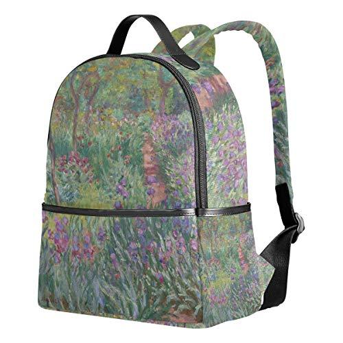 Ahomy Mochila para Niñas, Monet Iris Jardín en Giverny Mochila Escolar Libro Bolsas Casual Daypacks para Viajes y Deportes