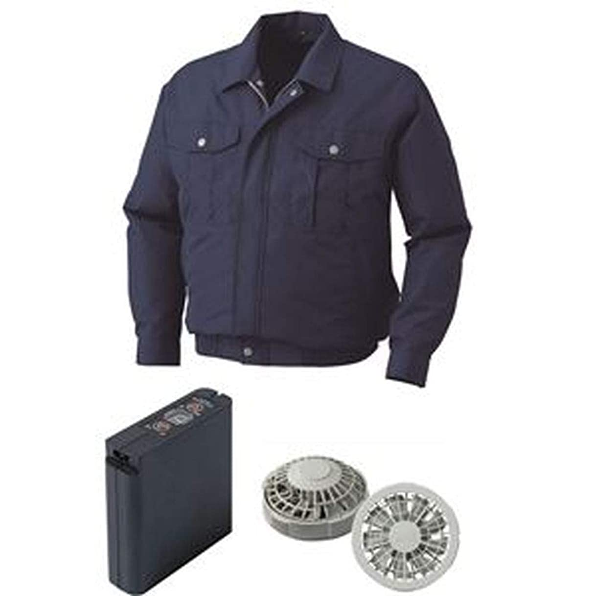 大量劣る靄空調服/ポリエステル製ワーク空調服/大容量バッテリーセット/ファンカラー:グレー / 0540G22C14S1 / - カラー:ダークブルー/サイズ:S -
