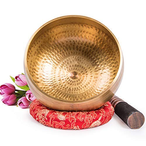 XBR Meditation Bowl,Tibetan Buddhist Small Hand Painted Singing Bowl from India with Cushion for Meditation Sound Healing Prayer Percussion Musical Instrument,Balance & Harmony Design