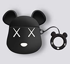 Mulafnxal Compatible with Airpods 1&2 Case,Cute Funny Cartoon Character Silicone Airpod Cover,Kawaii Fun Cool Design Skin,Fashion Animal Bear Cases for Girls Kids Teens Boys Air pods (Black Gloomy)