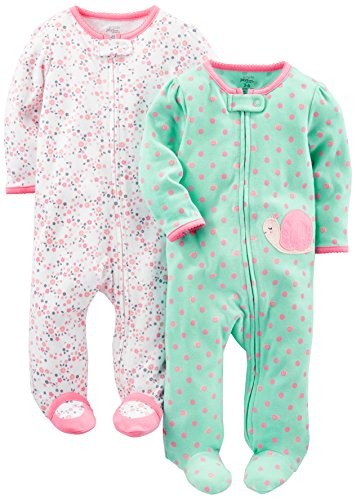 Simple Joys by Carter's Baby Girls' 2-Pack Cotton Footed Sleep and Play, Pink Floral/Mint Snail, Newborn