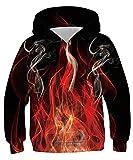 Belovecol Teen Boys Hoodies Novelty Fire Flame Print Pullover Sweatshirt Active Sport Hooded Shirts 12-14 Years