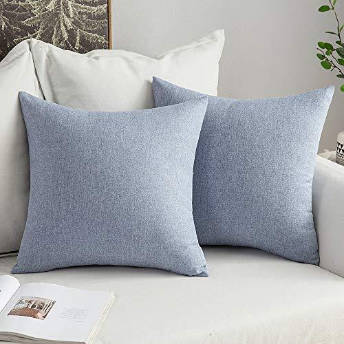 MIULEE 2er Pack Home Dekorative Leinenoptik Kissenbezug Kissenhülle Kissenbezug für Sofa Schlafzimmer Auto mit Reißverschlüsse 45x45 cm Hellblau