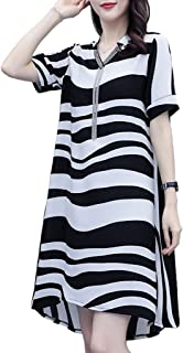 Women's Summer Fashion Striped Dress Loose Casual Mid-length Chiffon Dress غير رسمي (Color : Black White, Size : XL)