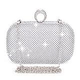 Clocolor Women's Bling Rhinestone Crystal Clutch Purse Bow Clutch Purse Evening Bag for Wedding Party
