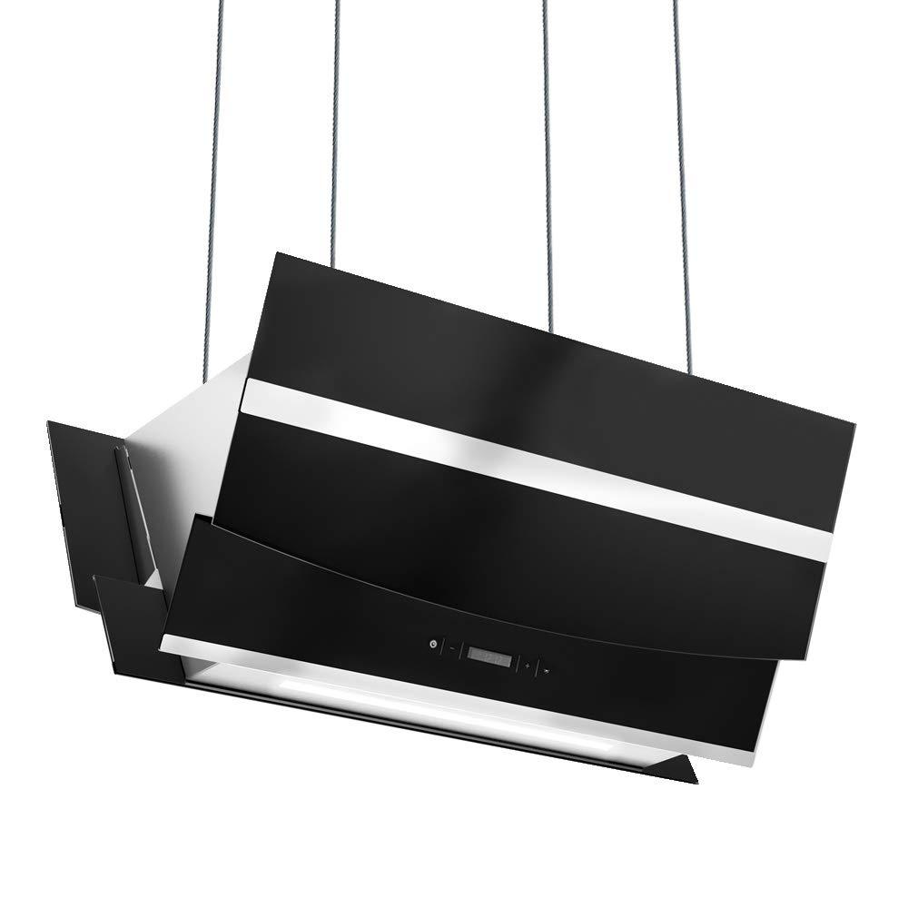 Campana extractora en isla (90 cm, acero inoxidable, cristal negro, extra silencioso, clase energética A, 4 niveles, iluminación LED, pantalla) HERMES-INSEL-S902 - KKT KOLBE: Amazon.es: Grandes electrodomésticos