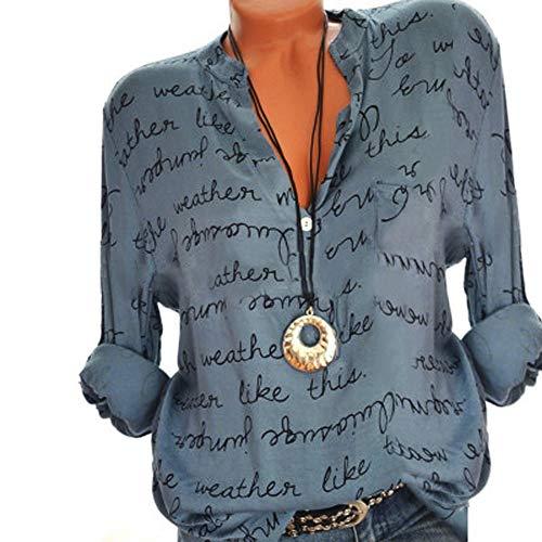 KaloryWee 2018 Damen Frauen Plus Größe V-Ausschnitt Taste Langarm Brief Bluse Pullover Tops Shirt