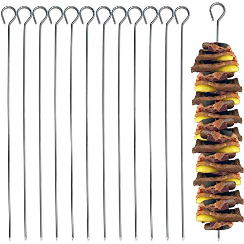 15 Stück Schaschlikspieße aus Edelstahl 28cm für BBQ, Grill und Pfanne Grillspieße Fleischspieße Gemüsespieße Schaschlik Fleisch Gemüse Spieße
