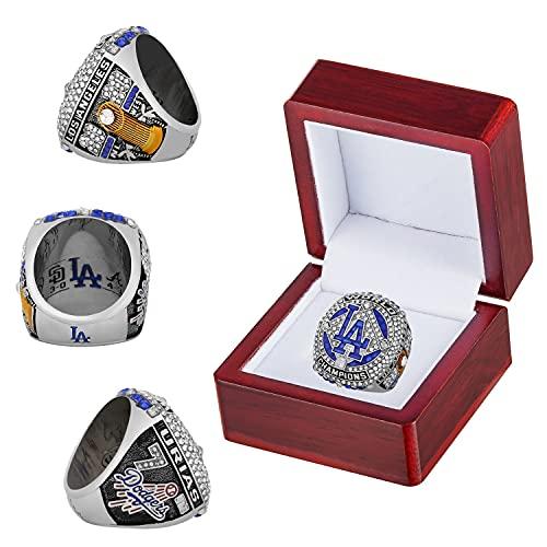 'Dodgers 2020 LA Championship Ring con scatola di legno 'World 'Series No.7 Replica Anelli ufficiali Regali per uomo Donna Bambini Padri Collezione di fan