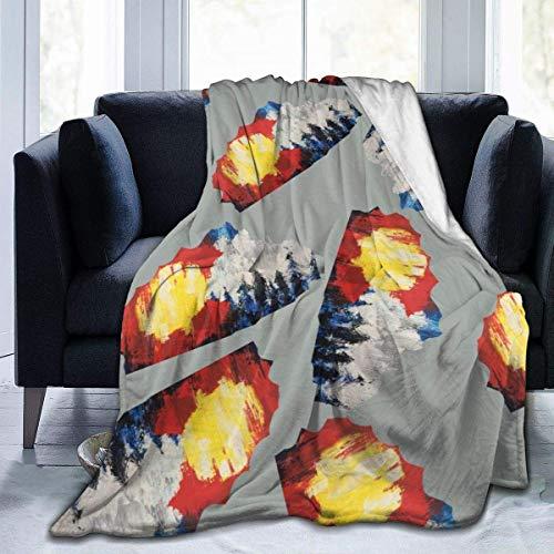 Generic Ultraweiche Micro-Fleece-Decke Colorado Flagge und Berge Überwurfdecke warme Decke weiche Fleecedecke für Couch Fleece – All Season Premium Bettdecke, Baumwolle, Mehrfarbig, 50x40inches