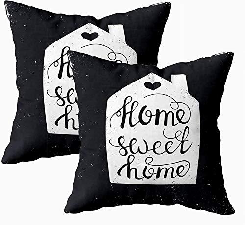Fundas de almohada, 2 piezas de póster de tipografía conceptual con frase escrita a mano para el hogar, con letras de 45,7 x 45,7 cm, fundas de almohada para sofá